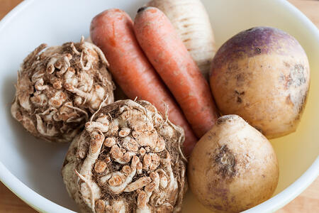 Organic Root Vegetables | Celeriac Carrots Parsnip Turnips