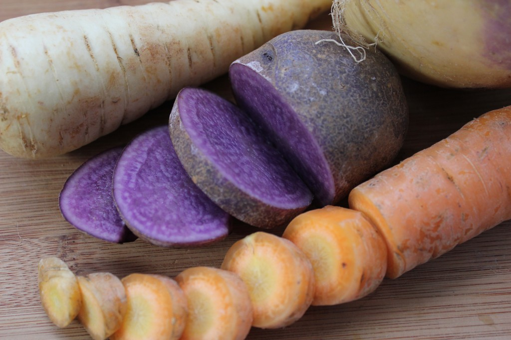 Local Adirondack Blue Potato, Carrot, Parsnip   Boston Organics