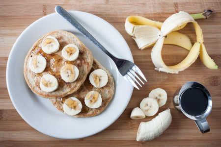 Banana Pancakes with Maple Syrup | Boston Organics