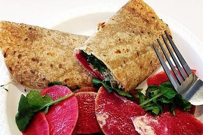 Watermelon Radish and Kale wrap