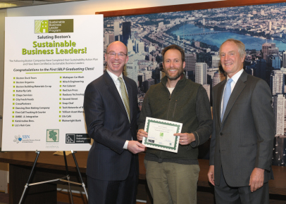 Jeff Barry of Boston Organics accepting Sustainable Business Leader certificate.