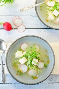 tofu soup with pea shoots and radishes