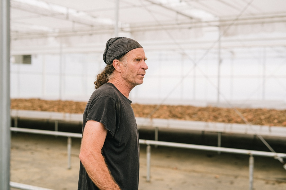 Chipper Sullivan in Atlas Farm's Greenhouse