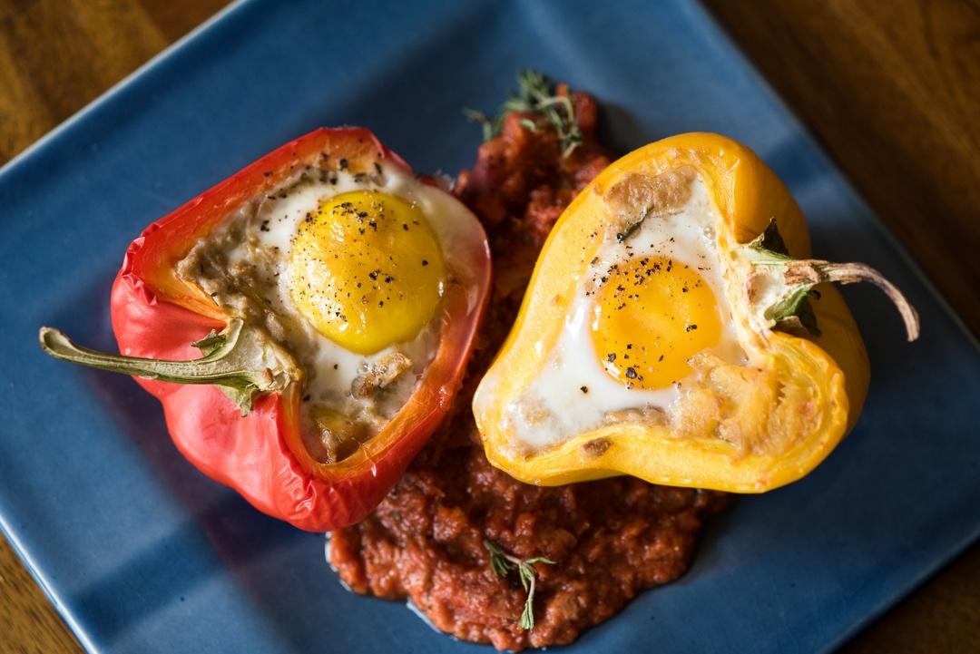 Boston Organics - Baked Eggs Stuffed Peppers