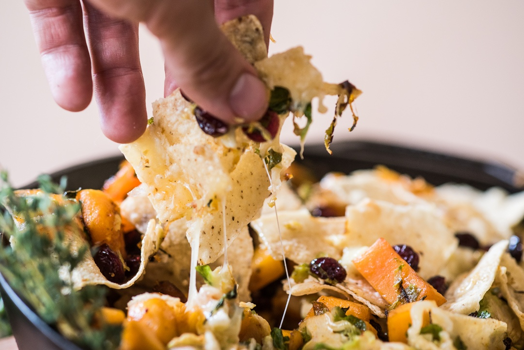 Boston Organics - Cranberry, Butternut and Brussels Sprout Skillet Nachos