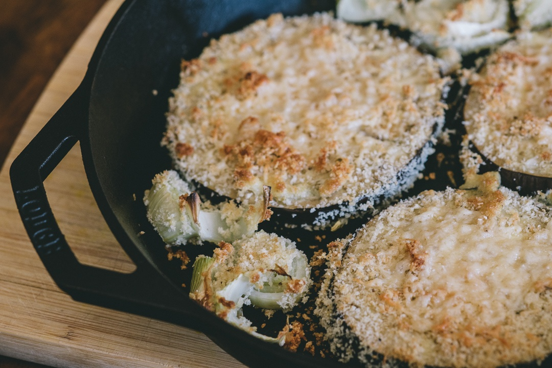 Boston Organics - Oven-Crusted Eggplant Fennel Parmesan