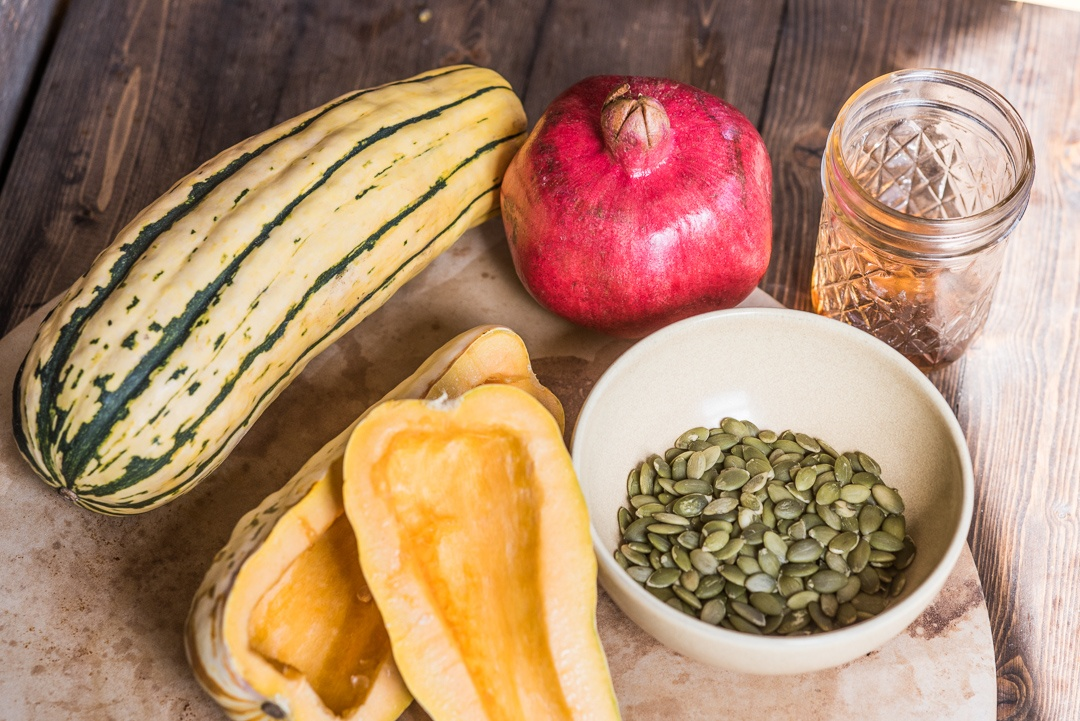 Boston Organics - Roasted Delicata Squash with Honey, Pomegranate Seeds and Pepitas