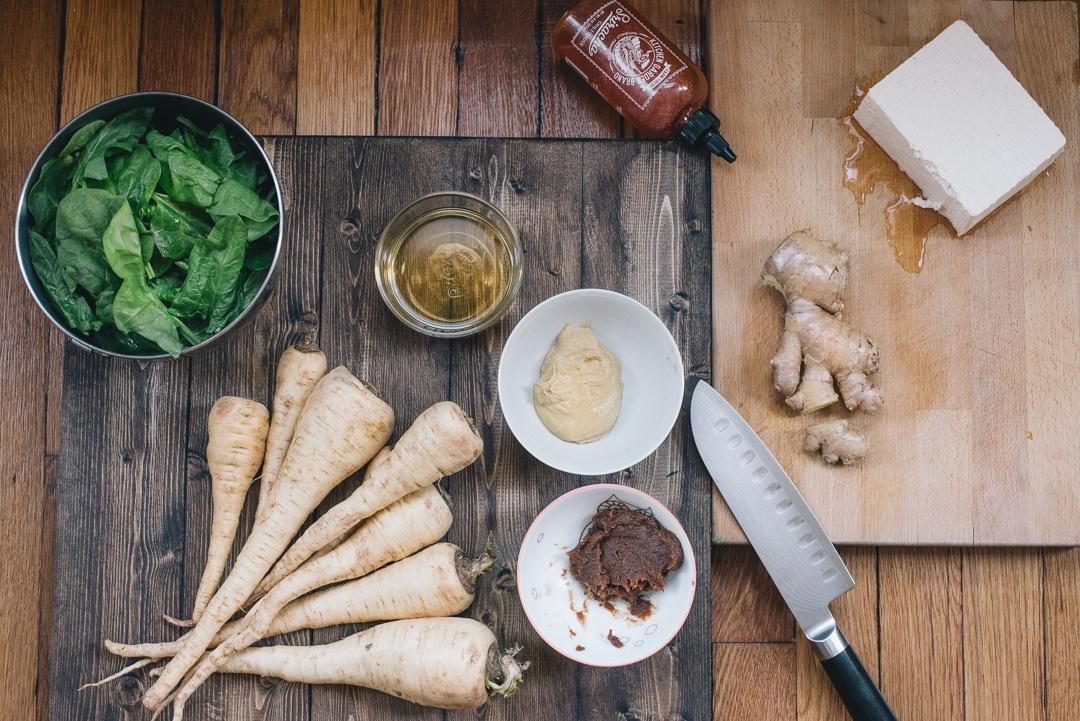 Boston Organics - Miso-Glazed Tofu with Parsnips Two Ways
