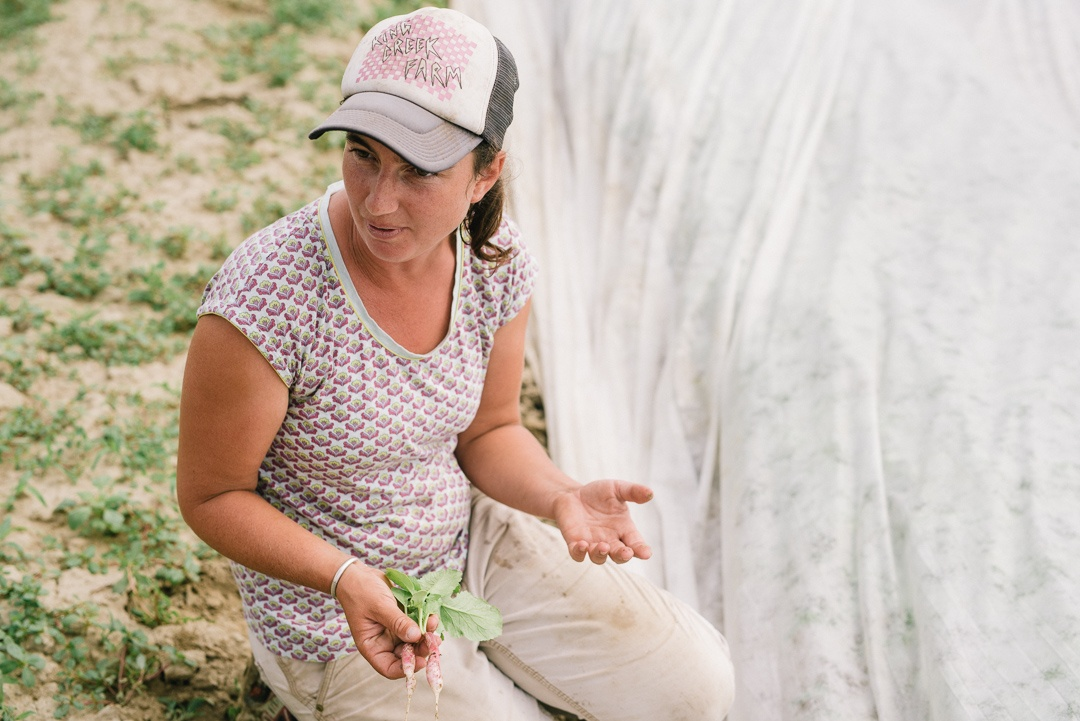 Danya Teitelbaum explains pest control methods at Queen's Greens