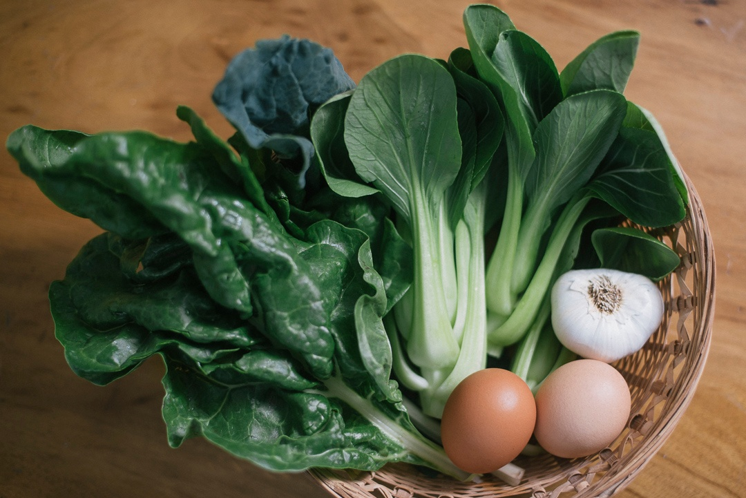 Organic Bok Choy, Chard, Eggs and Garlic | Boston Organics