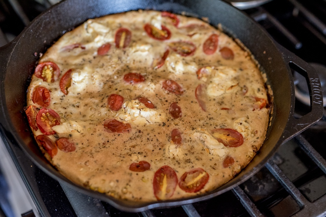 Summer Clafoutis with Cherry Tomatoes and Corn
