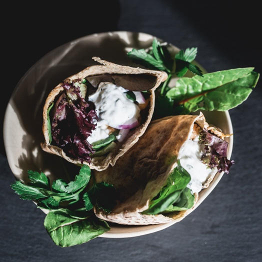 chickpea-pita-pockets-with-greens-and-minted-yogurt
