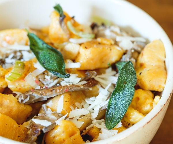 Sweet potato gnocchi pasta with oyster mushrooms