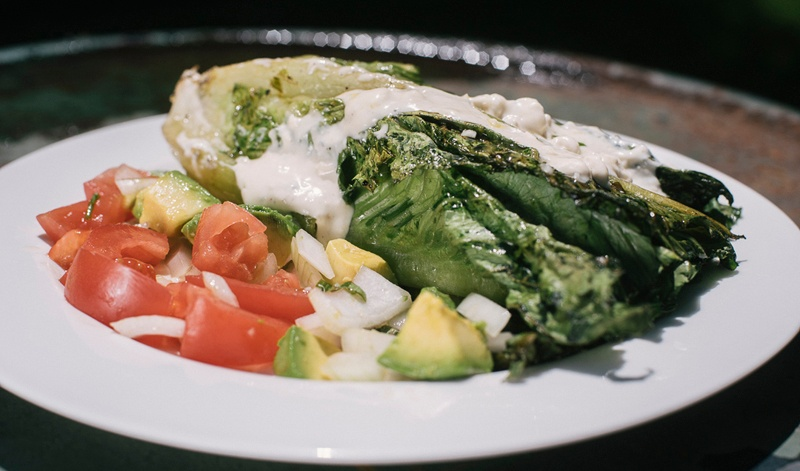 grilled romaine lettuce salad recipe - Boston Organics