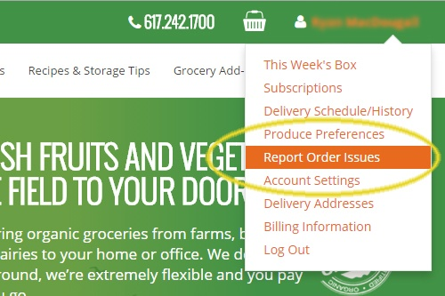 How To Report an Issue on BostonOrganics.com