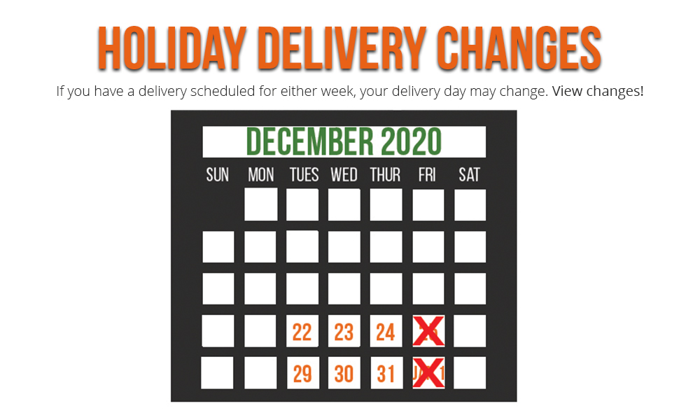 Holiday Delivery Schedule & Deadlines 2020