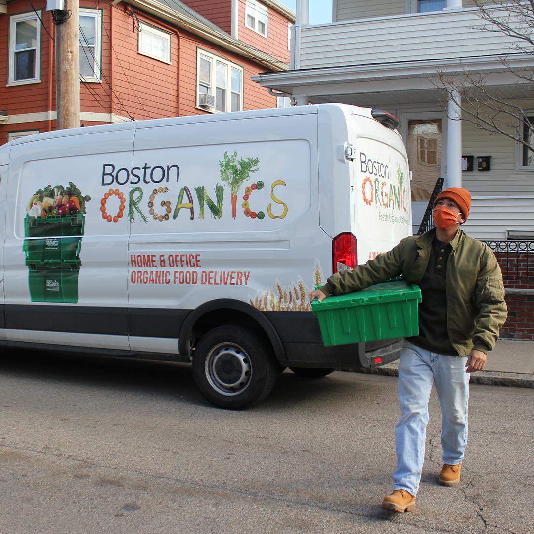 Boston Organics masked delivery driver