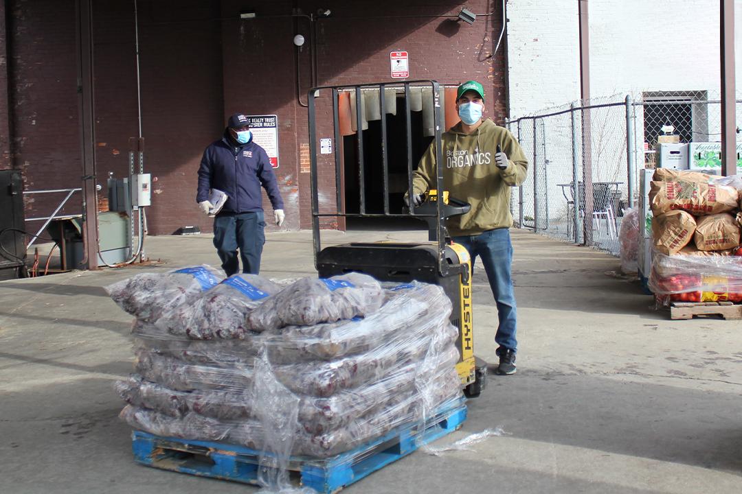 Boston Organics donating beets to Greater Boston Food Bank